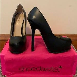 Shoedazzle Black Beatriz Platform Heels